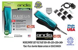 Andis Pulse Li 5 Cord/Cordless ADJUSTABLE BLADE CLIPPER SET 6 Guide Comb... - $209.99