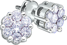 10kt White Gold Womens Round Diamond Flower Cluster Earrings 1/4 Cttw - $199.99