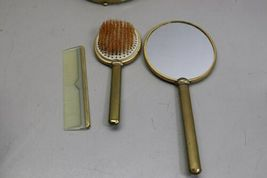 Vintage 4 Piece Vanity Set Gold Tone Trinket Jewelry Box Comb Brush Mirror image 4