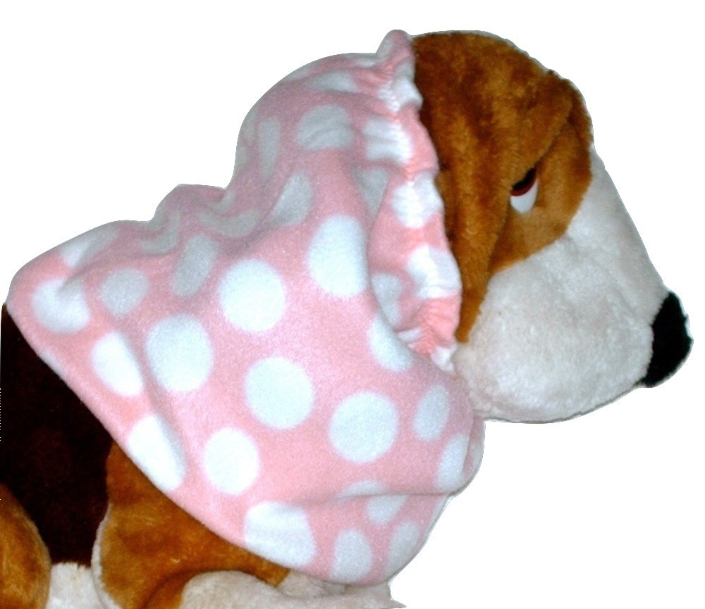 Light Pink White Polka Dots Fleece Dog Snood by Howlin Hounds Size Large