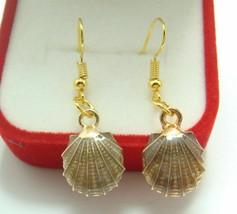 Oil Painted Sea Shell Fashion Earrings - US SELLER - $16.44