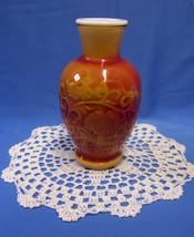 Vintage Avon Oriental Red Orange Scented Vase Fragranced w/ Decorative D... - $12.86