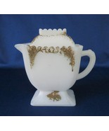 Westmoreland Glass, Feather Opaque, Mustard Jar / Covered Creamer, c. 1900 - $18.00