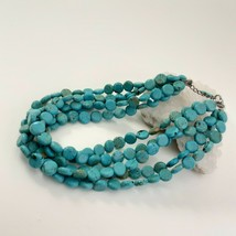 Multi Strand Turquoise Necklace 12mm Coin Beads image 2