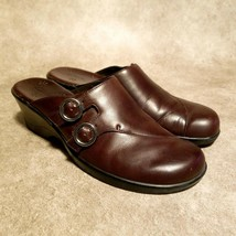 Clarks Womens  70832 Sz 8 M Brown Leather Slides Mules Clogs - $22.99
