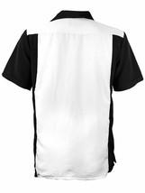 Men's Retro Classic Two Tone Guayabera Black/White Bowling Dress Shirt w/ Defect image 2