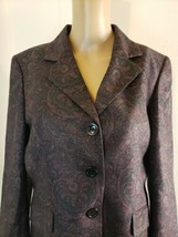 Evan-Picone Suit Jacket Only Gray Pink Paisley Size 12 3 Button Jacket Only - $28.49