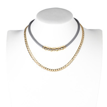 UE- Trendy Layered Gray & Gold Tone Designer Choker and Necklace Combination - $21.99