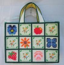 "Plastic Canvas Needlepoint Tote Bag 13"" x 9 ¾"" Spring Summer Handbag Vin... - $23.74"