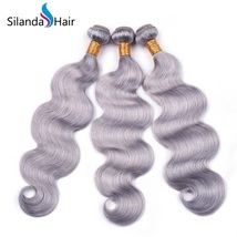 Silanda Hair 3 Bundles Grey Body Wave Remy Human Hair Extensions Weave - $139.90+
