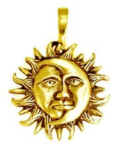 NICE Celtic Gold pltd over real Sterling Silver Charm Mayan Sun God Moon... - $38.65