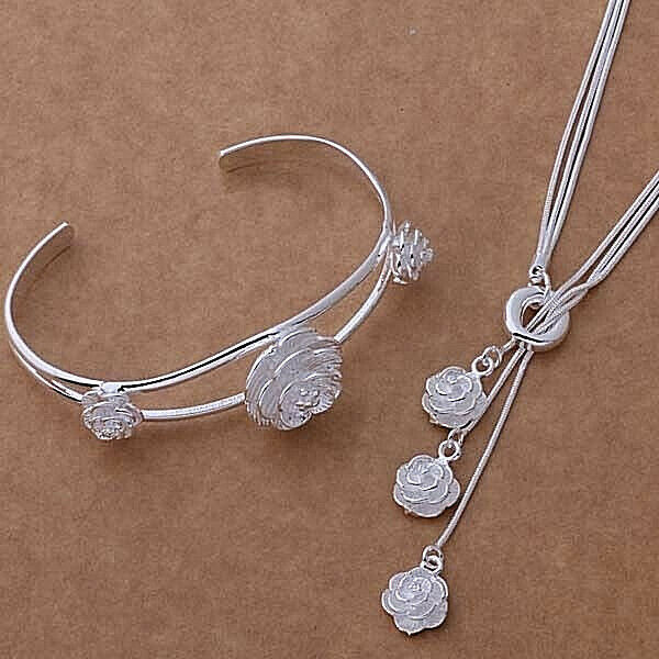 Primary image for Rose Necklace and Bracelet Set 925 Sterling Silver NEW