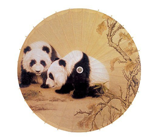 [Love Each Other] Rainproof Handmade Chinese Panda Oil Paper Umbrella 33 inches