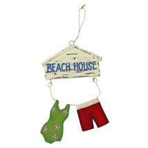 Beach House Swimsuit and Trunks Christmas Ornament Wood and Metal - $31.92