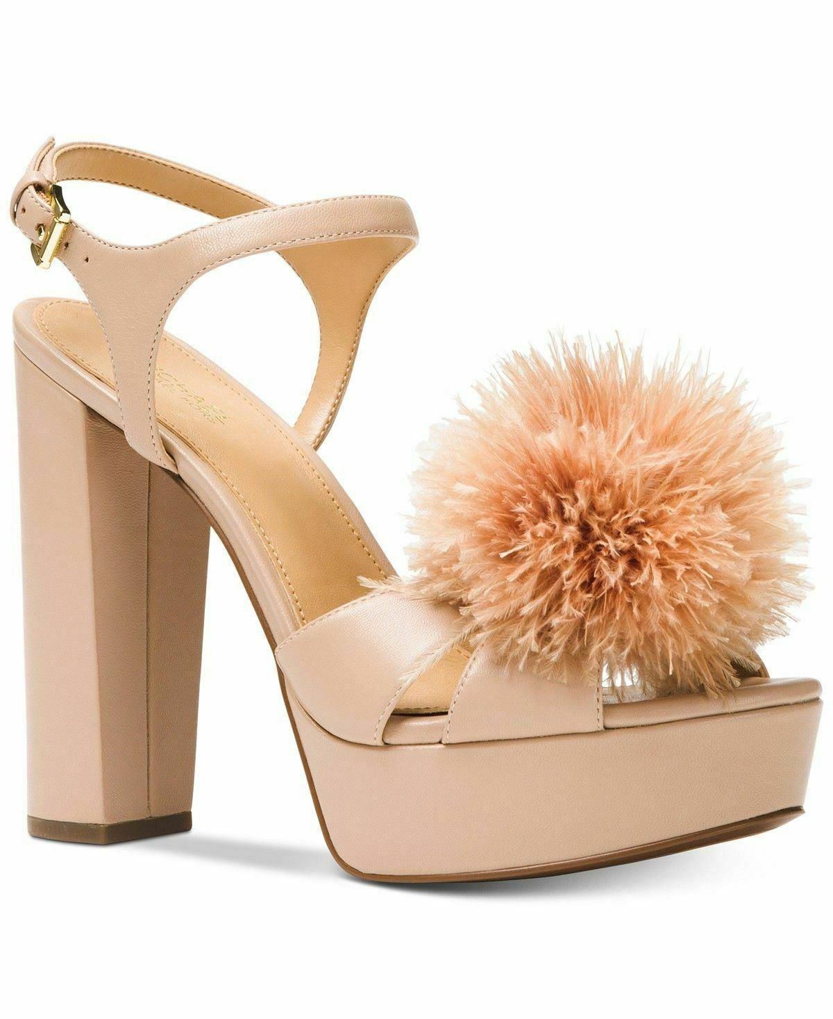 MICHAEL Michael Kors womens Fara Platform Sandals size 9M Color Oyster heels NWB image 5