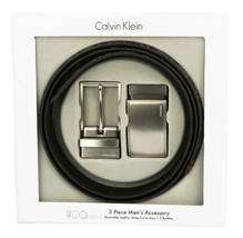 Calvin Klein Ck Men's Leather Reversible Buckle Belt 3 Piece Set Box Black 74360
