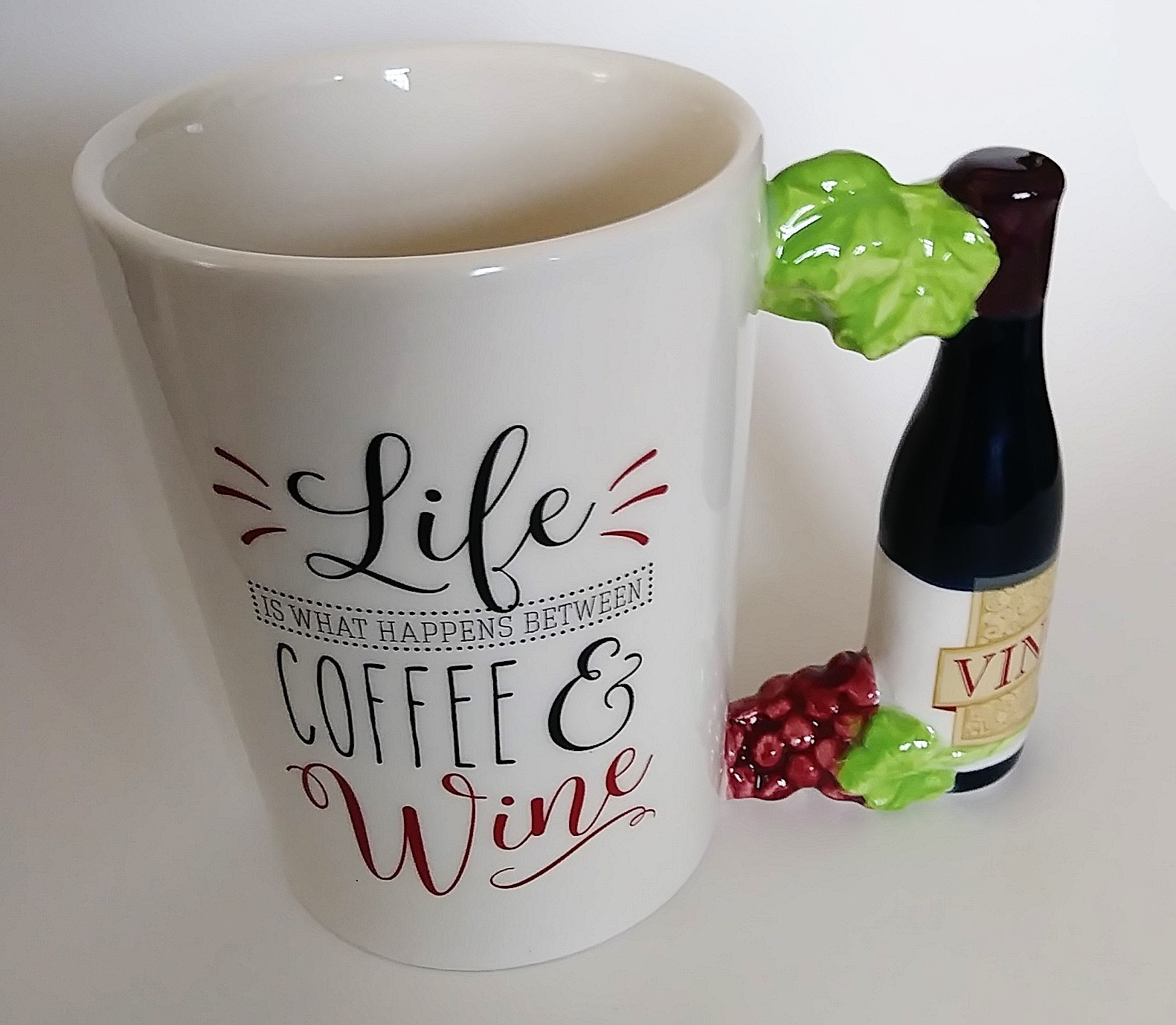 COFFEE MUG Life is What Happens Between Coffee & Wine Ceramic Cup Grapes NEW