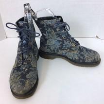 Doc Dr. Martens Women Air Wair Beckett Canvas Blue Floral Lace Up Boots ... - $56.09