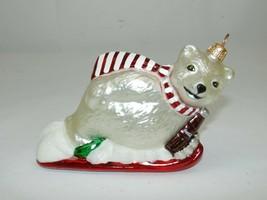 Kurt Adler 1996 Coca-Cola Polar Bear on Skis Blown Glass Polonais Ornament - $29.69