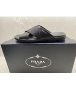 New Mens Prada Black Cross Strap Slides  Sandals Shoes UK 6 US 7-7.5 $590 - $395.99