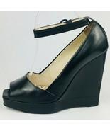 YSL Yves Saint Laurent Emma 100 Ankst Mirabelle Wedges Black Leather Siz... - $217.79