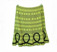 WD NY Sz 10 Skirt Green Black Embroidery Artsy Flounce Hemline Pastel Goth - $17.81