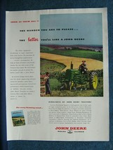 1949 John Deere Tractor Ad ~ Colorful Field Scene Showing Farmer Cultivating - $7.88