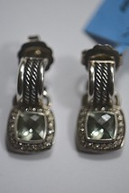 David Yurman Sterling Silver, Diamonds, Prasiolite Wheaton Hoop w/ Drop Earrings - $1,895.00