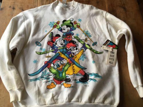 Disney Mickey Mouse Vintage Jerry Leigh Skiing Sweatshirt XL Ski USA NWT rare