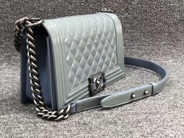 Authentic Chanel Quilted Patent SKY BLUE RARE MEDIUM Boy Flap Bag  image 2