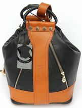 VALENTINA WOMEN'S BLACK/BROWN 100%GENUINE LEATHER BUCKET HOBO MADE IN IT... - $344.90