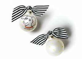 Coton Colors Pet Poodle Curly Dog Glass Christmas Ornament NEW IN BOX NI... - $8.90