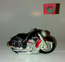 """Dept. 56 Christmas Ornament  Motorcycle with Bags 6"""" Hand Blown Mercury Glass  - $11.83"""