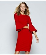 Calvin Klein 3/4 Bell Sleeve Crepe Sheath Dress, True Red NWT 4 - $42.24