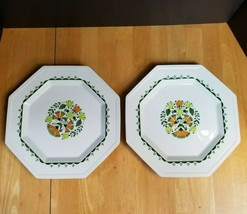 Johnson Brothers Greenfield China Dinner Plates (2) White Green & Orange... - $13.85