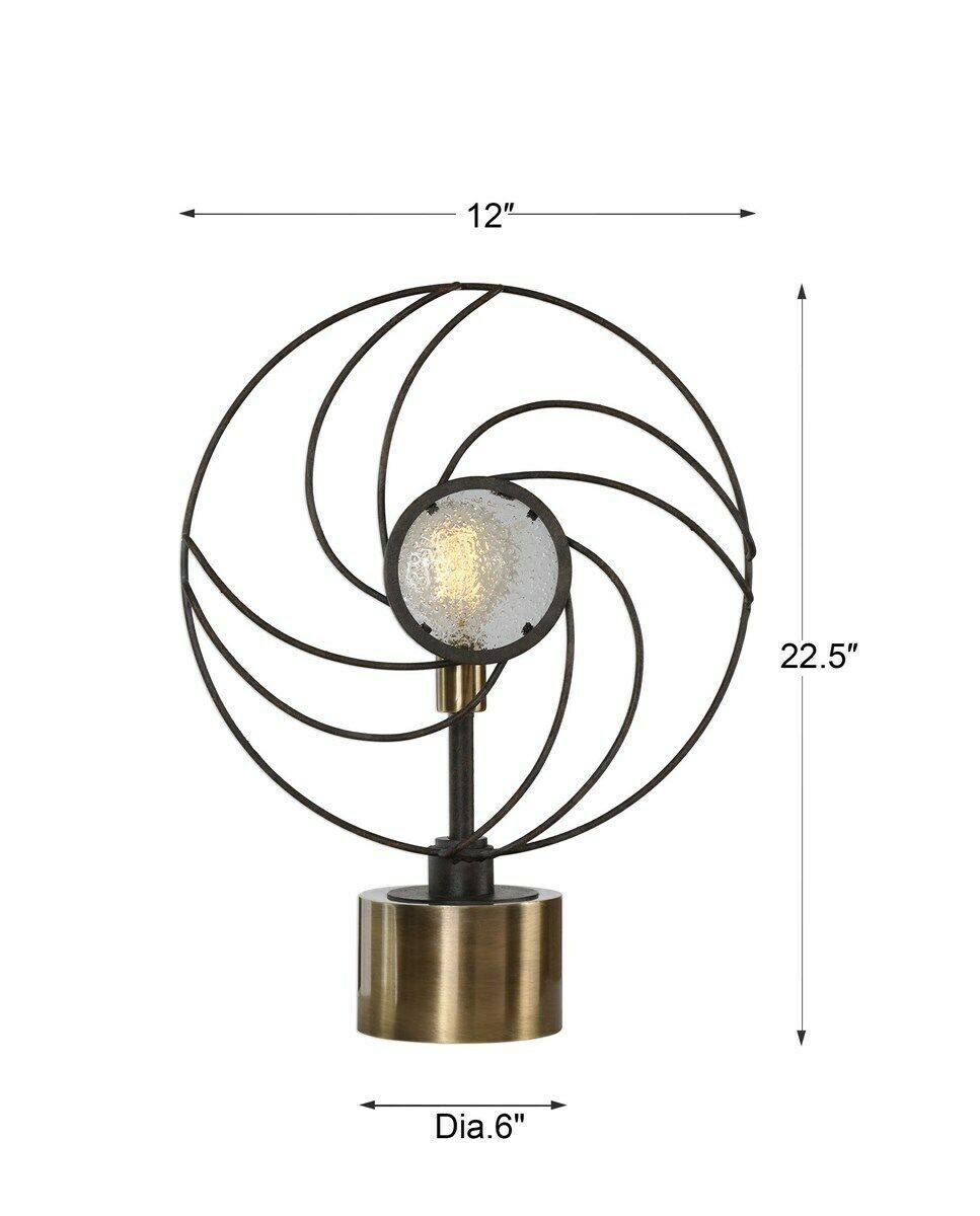 "VENTILADOR XXL 23"" MODERN RUSTIC FORGED METAL SEEDED GLASS TABLE LAMP UTTERMOST"
