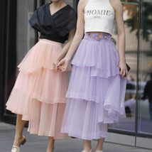 High Waist Hi-lo Layered Tulle Skirt Outfit Plus Size Wedding Outfit Bridesmaid image 2