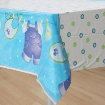 Blue Clothesline Boys Baby Shower Plastic Table Cover Party Supplies NEW - $4.90