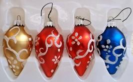 "4 Modern Glass Teardrop Ornaments Mica Trimmed Red Blue Gold  2 3/4"" Lon... - $8.90"