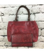 Relic Womens Purse Red Paisley Textured Embossed Handbag With Matching W... - $29.69