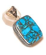 Blue Copper Turquoise Gemstone 925Silver Overlay Handmade Vintage Design... - $16.95
