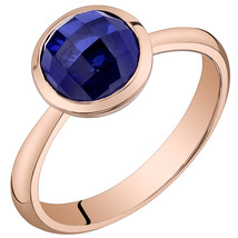 Women's 14k Rose Gold Round Blue Sapphire Solitaire Ring - $399.99