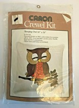 "Vintage 1977 Caron Crewel Kit ~ Sleeping Owl Pillow ~ 14"" x 14"" New NIP MIP - $25.06"