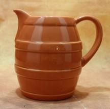 """Vintage A Gift From FTD Water Pitcher 6.5"""" Ceramic Orange Barrel design ... - $15.83"""