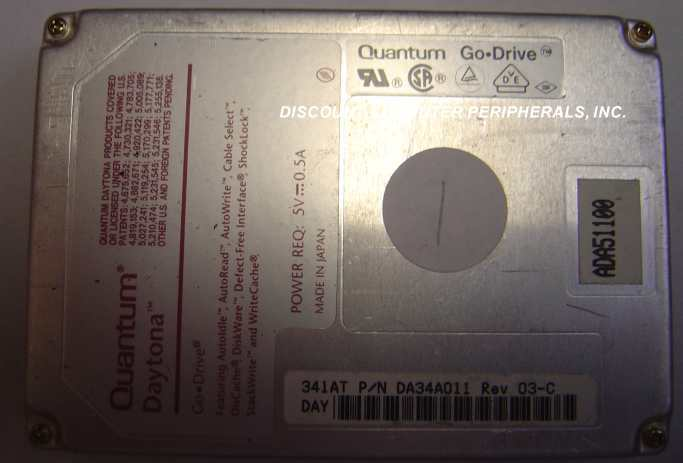 QUANTUM DAY341AT DA34A 341MB 2.5in Drive Tested Good Free USA Shipping