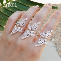 ZAKOL Vintage Gold Color Ring Crystal Zirconia Open Ring With Wing Shape... - $17.71