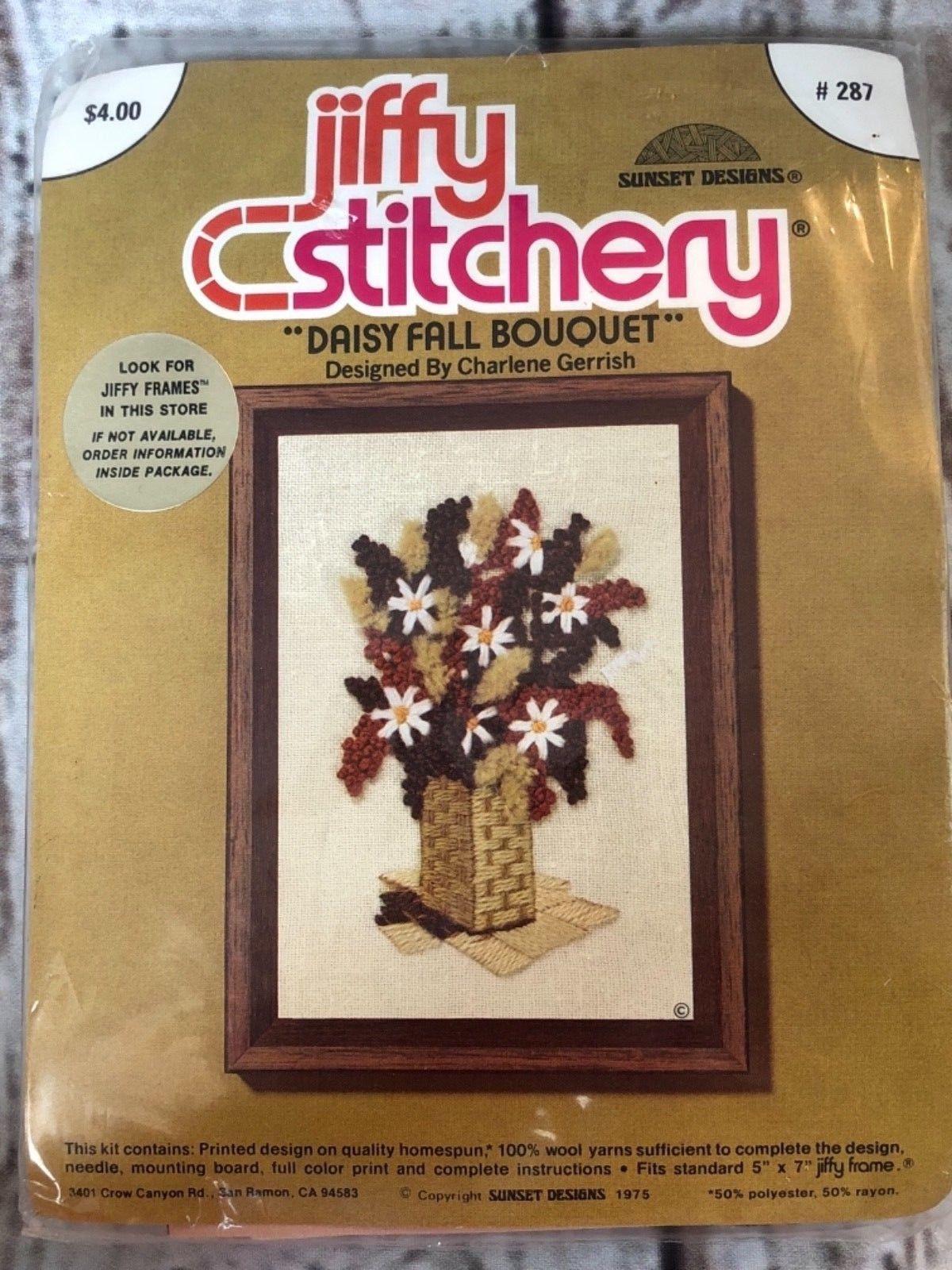Jiffy Stitchery DAISY FALL BOUQUET  Vintage 70s Crewel Embroidery Kit - $9.50