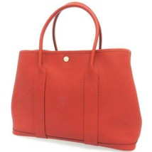 HERMES Garden Party PM Steeple Country Leather Rouge Duchesse Tote Bag #X - $3,556.10