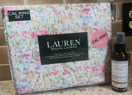 NWT RALPH LAUREN FLORAL WATERCOLOR CALIFRNIA KING SHEET SET FREE GIFT RO... - $102.71