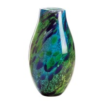 """Peacock Feather Design ART GLASS VASE Blue Green Accent 8"""" X 16"""" New 100... - $70.23"""